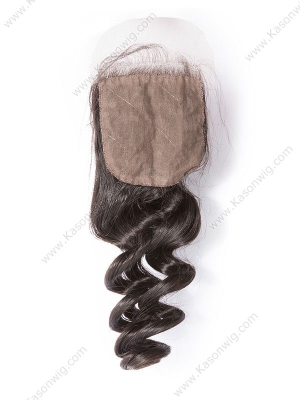 Silk Base Closure Brazilian Virgin Hair Loose Wave 100% Human Hair Siwss Lace Natural Color