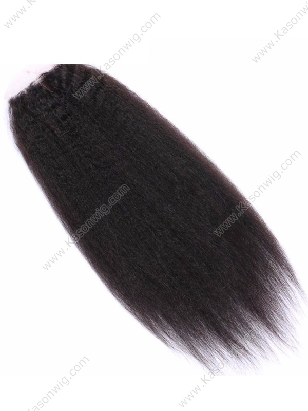 Brazilian Remy Hair Kinky Straight Silk Base Closure 130% Density Human Hair Silk Closure Free Middle 3 Part 4x4 Closure