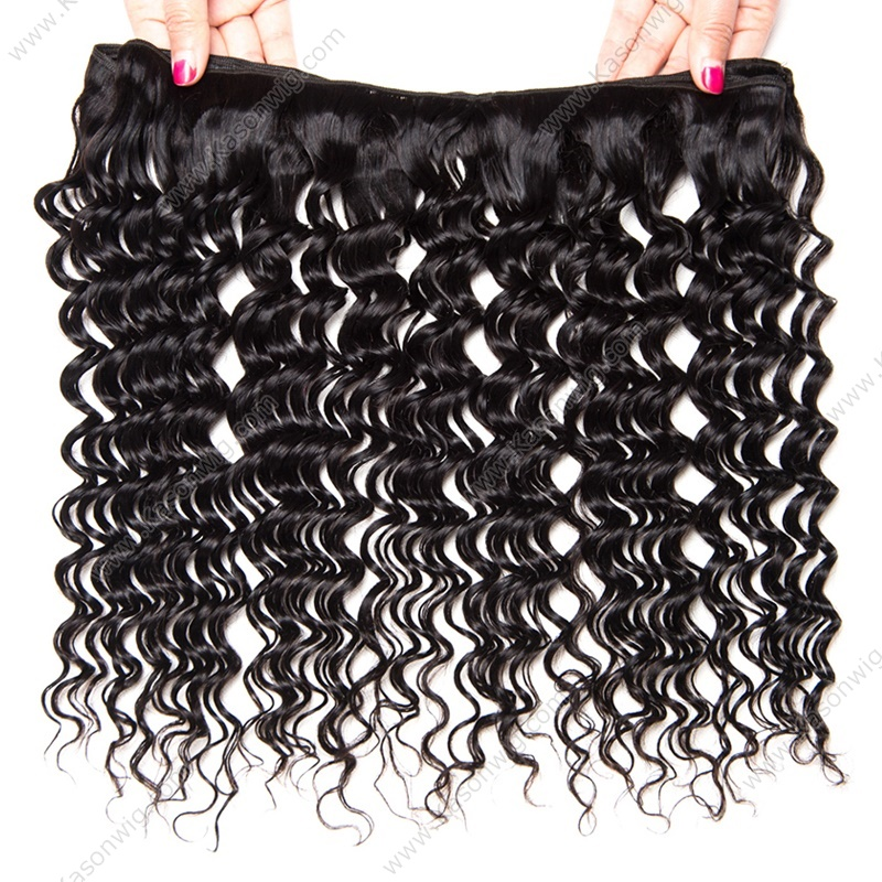Deep Wave With Frontal Peruvian Virgin Hair Lace Frontal Closure With 3Bundles Human Peruvian Deep Curly Hair With Frontal