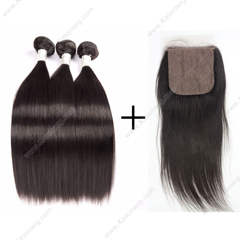 Malaysian Virgin Hair With Silk Base Closure Straight Hair With Silk Closure Virgin Hair 3 Bundles And Closure Free Middle 3 Part Closure