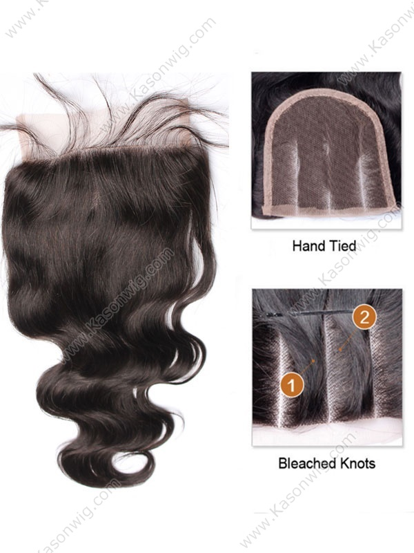 8A Brazilian Virgin Hair 5x5 Lace Closure Bleached Knots Body Wave Lace Closure With Baby Hair Top