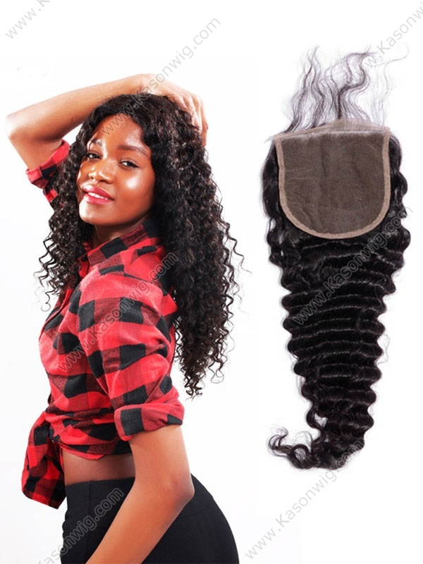 Unprocessed Brazilian Virgin Hair Deep Wave Natural Color Bleach knots 5x5 Lace Closure With Baby Hair Free Shipping