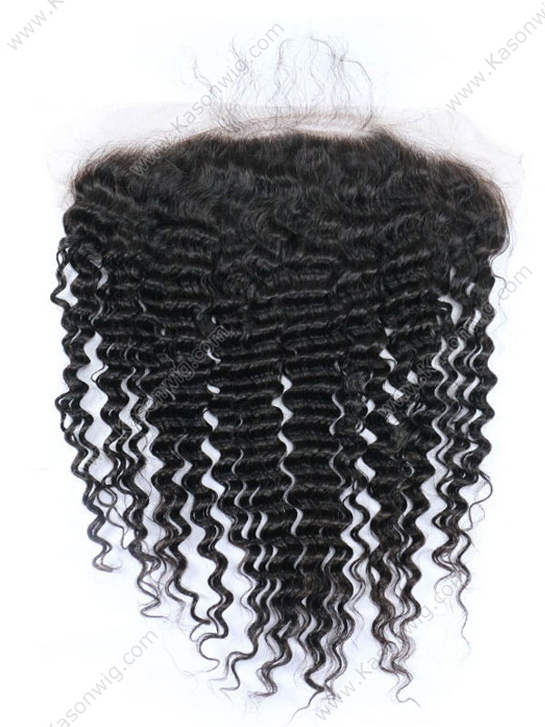 Deep Curly Brazilian Virgin Hair 13x6 Lace Frontal Closure Swiss Lace Bleached Knot Pre Plucked Hair Line Free Shipping