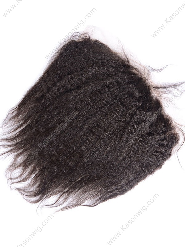 Kinky Straight Hair Lace Frontal 13*6 Brazilian Virgin Hair Lace Frontal Closure Bleached Knots Natural Hairline With Baby Hair