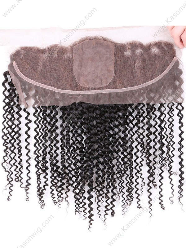 13x4 Silk Base Frontal Kinky Curly Silk Lace Frontal Closure With Baby Hair Afro Kinky Curly 8A Malaysian Virgin Hair Frontals 13*4