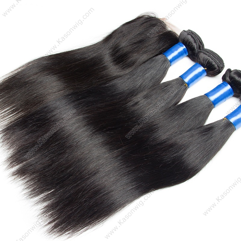 Peruvian Virgin Hair Straight 4Bundles With Silk Top Closure 100% Human Hair Bundles With Silk Base Closure Straight Hair Free Middle 3 Part