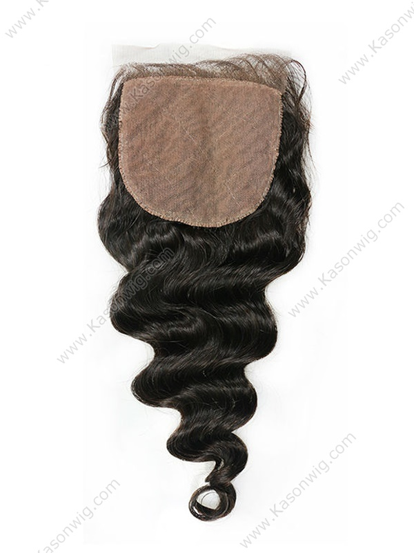 Loose Wave Silk Base Closure Peruvian Virgin Hair Silk Base Lace Closure Bleached Knots Loose Wave Human Hair Can Be Colord
