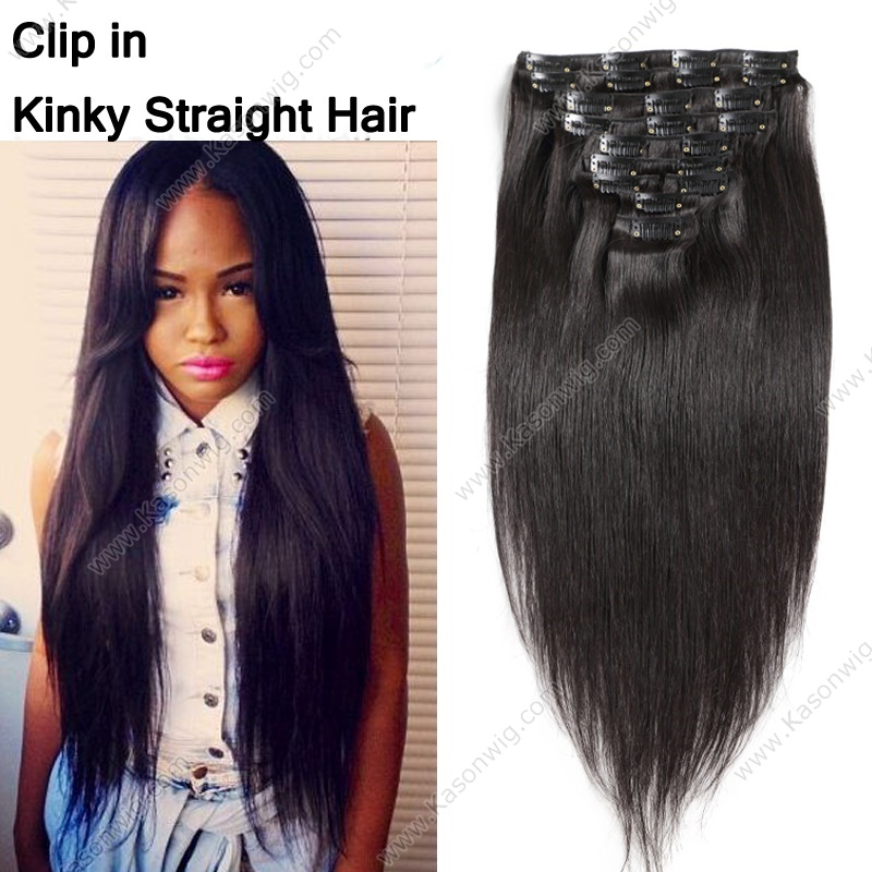 Straight Human Hair Clip In Extensions - Best Quality Peruvian Virgin Clip In Human Hair Extensions 8Pcs 100G-Set