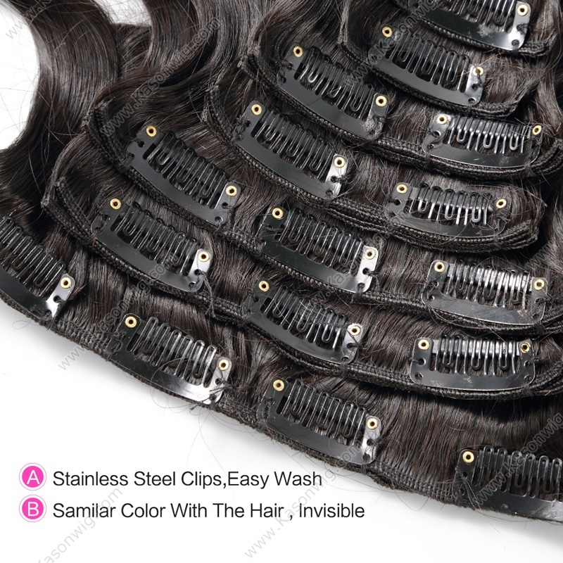 Peruvian Body Wave Clip In Human Hair Extensions Body Wave Virgin Hair African American Clip In Human Hair Extensions 8Pcs Customized