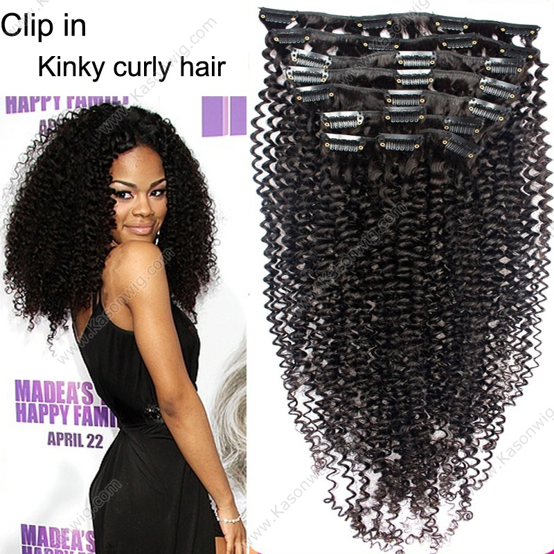 Kinky Curly Clip In Human Hair Extensions - Peruvian Virgin Hair - Kinky Curly Human Clip In Curly Hair Extensions 8Pcs - Set For Black Women