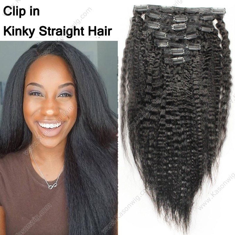Peruvian Kinky Straight Clip In Human Hair Extensions For African American Black Women