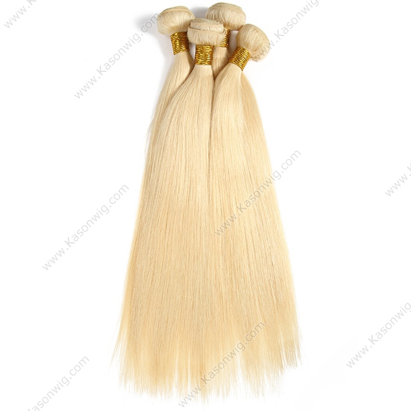 613 Blonde Virgin Hair 3Bundles Straight Human Hair No Tangle No Shedding Peruvian Virgin Hair Blonde Color Can Be Colord
