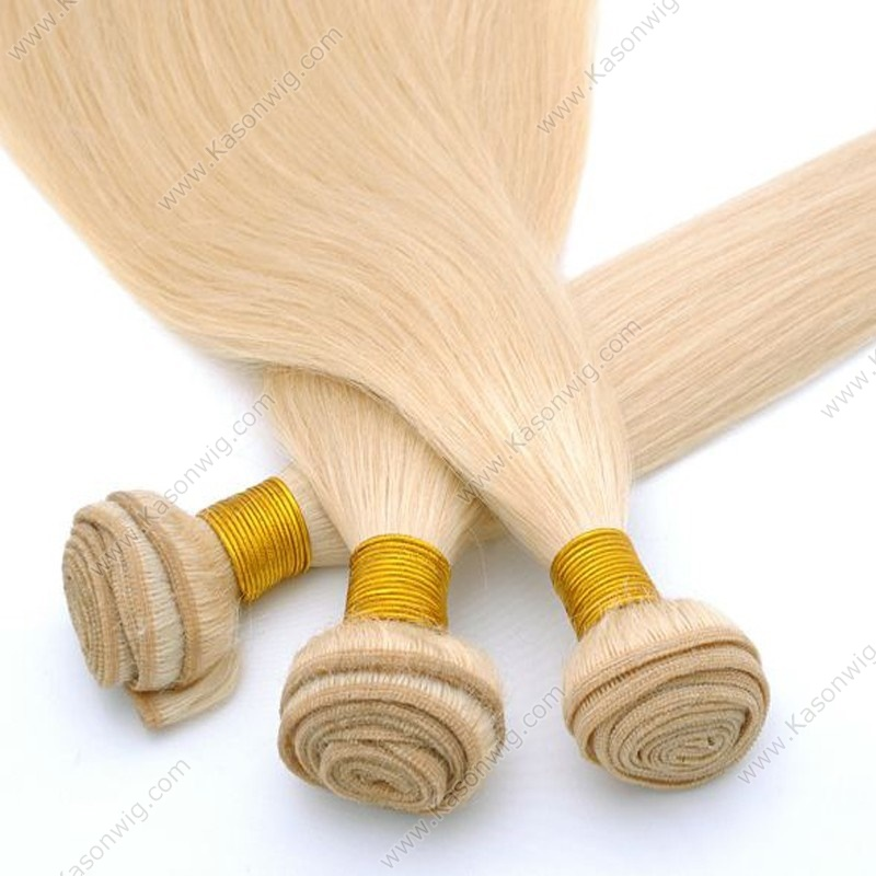 Blonde Virgin Hair 613 3Bundles Straight Human Hair No Tangle No Shedding Peruvian Virgin Hair Blonde Color Hair Weave Bundles Deals Can Be Colord