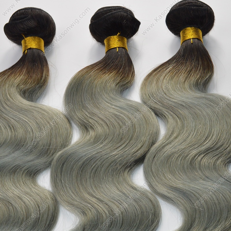 1B Grey Ombre Hair Weave 3Bundles Deals Peruvian Human Hair Extensions Hot Sale Top Grade Sliver Color Ombre Human Hair Free Shipping