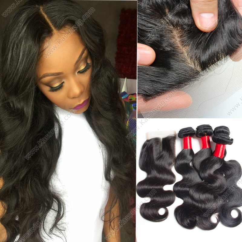 Indian Virgin Hair Closure With Bundles Body Wave Silk Top Closure With 3Bundles Top Grade Raw Indian Remy Hair Bundles With Swiss Lace Closure Shipping Free