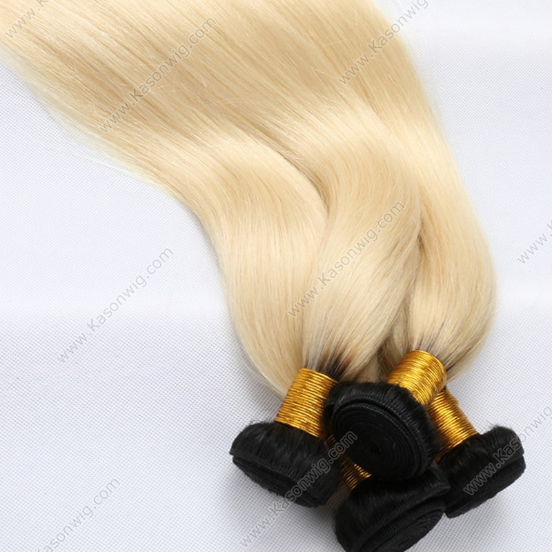 Fashion Ombre 1B 613 Color Peruvian Human Hair Very Soft Ombre Straight Human Extensions No Tangle No Shedding Honey Blonde Weave Bundles