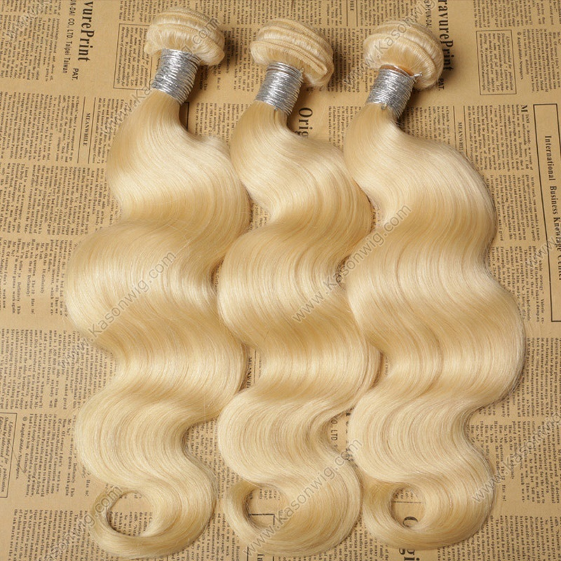 Russian Virgin Hair Extensions Kason Hot Sale Human Hair 3Bundles Honey Blonde Color Body Wave 613 Virgin Hair No Tangle No Shedding