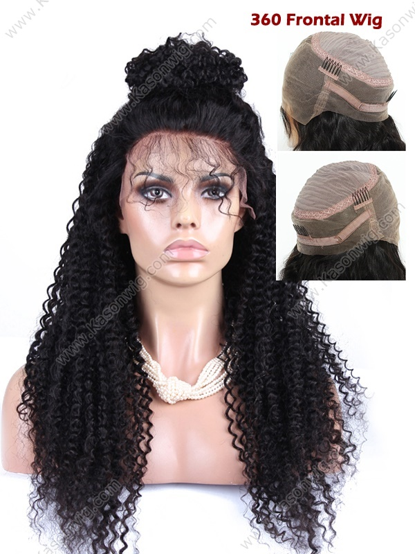 Kason 360 Lace Frontal Wig Density150% Human Hair Wig Kinky Curly Peruvian Virgin Hair Lace Front Wig With Baby Hair