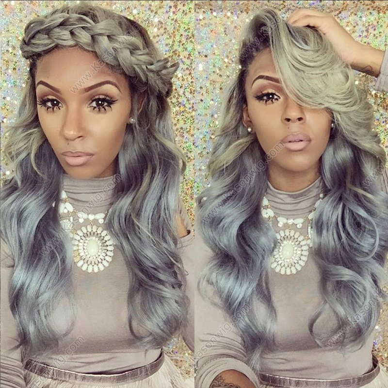 Peruvian Virgin Hair Grey Human Hair Bundles With Closure Ombre 1B Grey Human Hair Extensions 3Bundles With Closure Deals Free Shipping