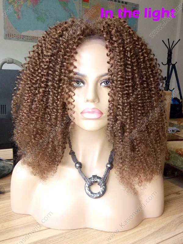 Kinky Curly Full Lace Wig Brown Color Afro Kinky Curly Human Hair Full Lace Wig For Black Women Peruvian Human Hair Wig Kinky Curly Free Shipping