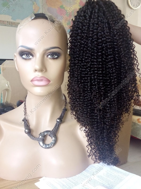 Peruvian Curly Human Hair Wigs Ponytail Kinky Curly Virgin Hair Full Lace Wig For Black Women 130% Density Medium Size Wig