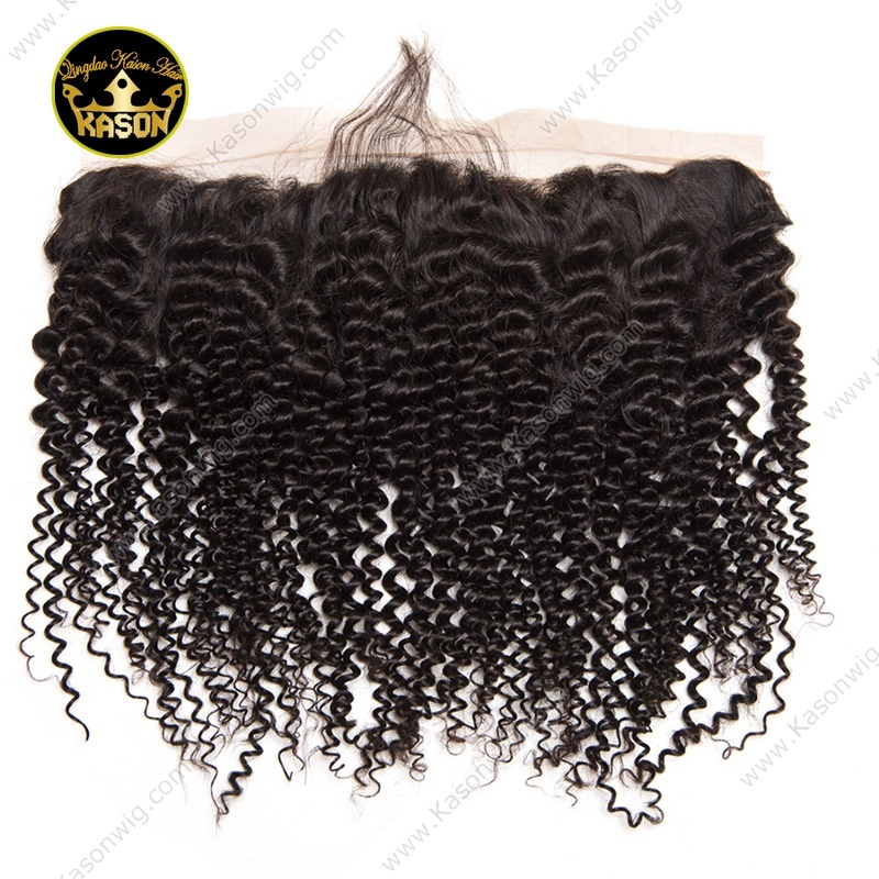 Brazilian Virgin Hair Kinky Curly With Frontal Unprocessed Human Hair 3 Bundles With Lace Frontal 13*4 Swiss Lace Bleached Knots